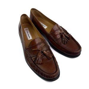 Sandro Moscoloni Men's Tan Tassle Loafer Shoes